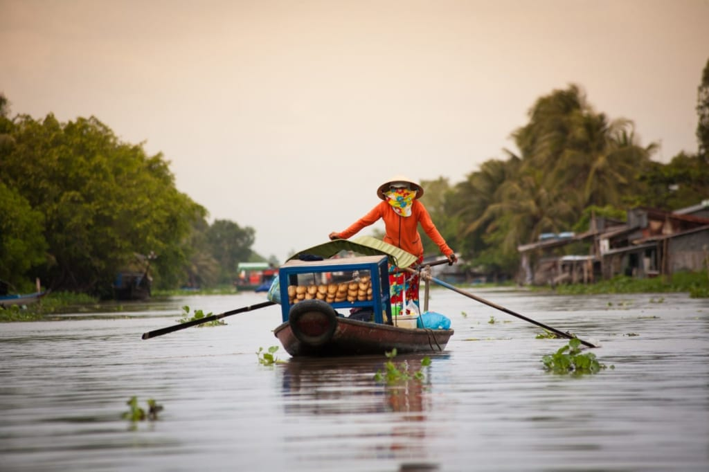 Rowing your boat in Mekong Delta
